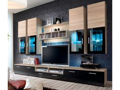 "Big Oak Sonoma  Spacious Entertainment Center Presto 3 Presto is a modern TV wall unit with high gloss fronts made of durable MDF that make it a perfect choice for any modern interior. Due to the blue LED lighting that has been built inside the display cabinets, this unique entertainment center won't fail to impress your guests at your next dinner party.  Dimensions: Height - 190 cm - 74,8"" Width - 300 cm - 118,1"" Depth - 45 cm - 17,7"""