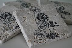 Wildflower Natural Stone Coasters Set of 4 By by frecklesonme, $14.00
