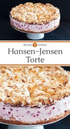 Die eindrucksvolle Hansen-Jensen-Torte wird auch Schwimmbadtorte oder Himmeltorte genannt. Traditionell wird sie mit Mandarinen gefüllt, auch Stachelbeeren sind sehr beliebt. Wir haben uns allerdings bei diesem Rezept für Johannisbeeren entschieden, es können aber auch andere Früchte verwendet werden. Das Rezept ist direkt verlinkt.