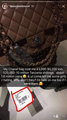 Vera Sidika Brags on Her N1.8million Gucci Bag Asks Why Girls Wont Hate on Her