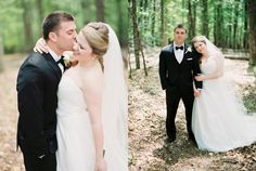 Soft and romantic mountain wedding. Bride and groom wedding portraits. Film photography.