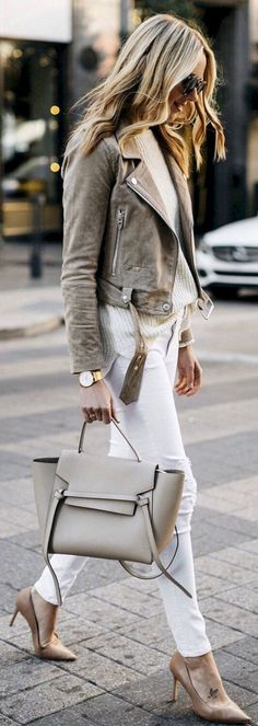 90b5fbd0d28b How To Wear Belts - Cute spring outfits   Grey Suede Jacket   White Skinny  Jeans   Grey Leather Tote Bag   Nude Pumps - Discover how to make the belt  the ...