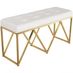 Nuevo Modern Furniture Celia Bench Tufted White Naugahyde on Brushed Gold Stainless Concrete Furniture, Bench Furniture, Modern Furniture, Gold Furniture, Office Furniture, Wood Storage Bench, Upholstered Storage Bench, Garden Bench Plans, Tufted Sofa