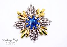Swarovski Brooch, Beaded Brooch, Swarovski Crystals, Bead Embroidery Jewelry, Beaded Embroidery, Handmade Beads, Blue And Silver, Seed Beads, Sparkle