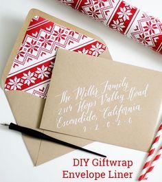 DIY giftwrap envelope liner