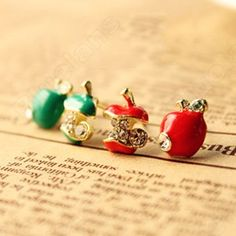 Discount China china wholesale Red Glaze Drops Asymmetric Small Apple Ear Hammer Earrings 6488 [6488] - US$0.99 : Bluelans