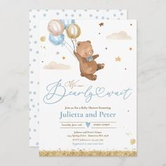 Teddy Bear We Can Bearly Wait Boy Baby Shower Invitation Baby Shower Azul, Fiesta Baby Shower, Gender Neutral Baby Shower, Baby Shower Balloons, Baby Boy Shower, Baby Showers, Baby Sprinkle Invitations, Baby Shower Invitation Cards, Baby Shower Invitations For Boys