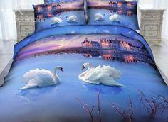 White #Swan and #Castle Print 4-Piece Cotton Duvet Cover Sets #3d #bedding #bedroom