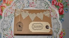Handmade Heart Bunting Wedding Card with Save The Date. £2.50, via Etsy.