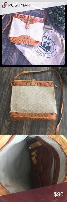Brahmin leather and canvas Crossbody.  Excellent condition with dust bag.  Made in the USA! 🇺🇸 Brahmin Bags Crossbody Bags