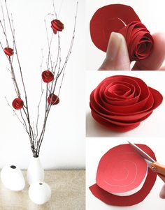 papperspyssel-alla-hjartans-dag-pyssel-diy-papper-tips-ide-inspiration-rosor-blommor. Paper Flowers Craft, Paper Roses, Flower Crafts, Flower Paper, Diy Craft Projects, Diy And Crafts, Crafts For Kids, Faux Flowers, Diy Flowers