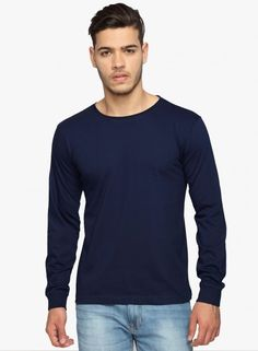 This navy blue T-Shirt from Adro will lend a distinct sporty element to your fall athleisure. Its made out of pure cotton and has ribbed hems andcuffs to give you maximum comfort. Pair it with blue track pants and basic lace-ups. Unique T Shirt Design, Navy Blue T Shirt, Plain Tees, Tshirts Online, Neck T Shirt, Shirt Designs, Online Clothes, Shopping Sites, Athleisure