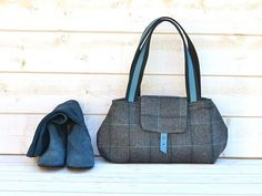 LA BOHEME Gray Purse Herringbone Wool  / Chic French bag