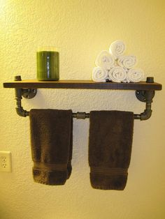 Industrial Plumbing Pipe Towel Rack  Walnut by vintagepipedreams, $129.00