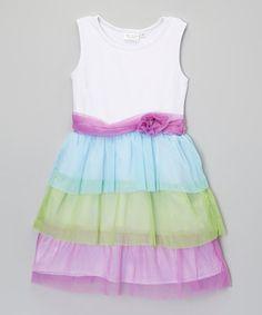 Look what I found on #zulily! Purple & Green Tiered Dress - Toddler & Girls #zulilyfinds