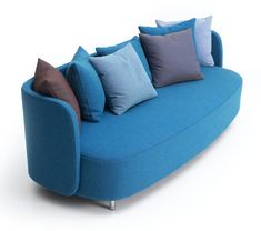 Admirable Blue Sofa Designs For Fascinating Living Room : Unique Upholstered Blue Sofa Design with Colorful Pillow and Comfy Backrest for Elegant Living Room Decoration Small Couch In Bedroom, Bedroom Couch, Sofa Couch, Small Sofa, Blue Bedroom, Sofa Pillows, Bedroom Colors, Bedroom Furniture, Bedroom Ideas