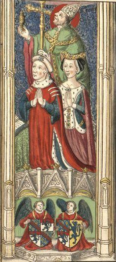 Louis de Bourbon x Blanche de Roucy (Gaignières 547) -- Dessin d'un vitrail de N.-D. de Chartres, chapelle de Vendôme [BNF Bouchot, 547] -- «[1] Louis de Bourbon comte de Vendosme et de Chartres, Second fils de Jean comte de Vendosme de Catherine de Vendosme, grand Chambellan et grand Me de France, … Il mourut [le 14] Decembre 1446 [?1455 ou 1456] âgé d'environ 70. ans fut enterré a… Vendosme. [2] Blanche de Roucy mariée en 1414… Elle mourut sans enfans l'an 1421…»