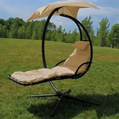 Freeport Park Macie Hanging Chaise Lounger with Canopy Umbrella Color: Beige Hanging Hammock Chair, Hammock Stand, Swinging Chair, Room Hammock, Hammock Balcony, Hanging Chairs, Porch Swing With Stand, Lawn Chairs, Lounge Chairs