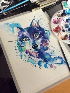 Watercolor wolf, for a tattoo. Artist: Deborah Deh Soares. Studio Lotus Tattoo, Campinas - SP, Brazil. Facebook.comstudiolotustatuagem.
