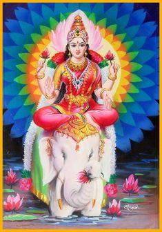 Lakshmi is also called Sri or Thirumagal because she is endowed with six auspicious and divine qualities, or gunas, and is the divine strength of Vishnu Saraswati Goddess, Shiva Shakti, Lord Murugan Wallpapers, Lord Ganesha Paintings, Lakshmi Images, Indian Goddess, Hindu Deities, Krishna Art, Hindu Art