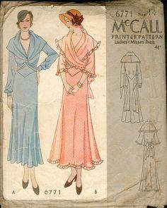 Ladies Dress With Shawl Drape Neckline Sewing Pattern - McCall Vintage Dress Patterns, Clothing Patterns, Vintage Dresses, Vintage Outfits, Vintage Clothing, 1930s Fashion, Retro Fashion, Vintage Fashion, Victorian Fashion
