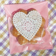 Lovely Cookie Bag Heart Doily - Plastic Cellophane Bags for Cookie - Pink Lace. $3.50, via Etsy.