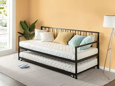 Zinus Newport Twin Daybed and Trundle Set/Premium Steel Slat Support/Space Saving Design/Daybed and Roll Out Trundle Accommodate Twin Size Mattresses Sold Separately Metal Daybed With Trundle, Day Bed Trundle, Bunk Bed, Beds For Small Rooms, Mattress Springs, Space Saving Furniture, Furniture Deals, Furniture Websites, Cool Beds
