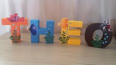 Finding Nemo Letters Finding Nemo Birthday by SimplylettersDesigns Dory Baby, Nemo Y Dory, 1st Birthdays, 2nd Birthday Parties, Birthday Ideas, Finding Dory, Baby Shower, Character Letters, Sea Theme