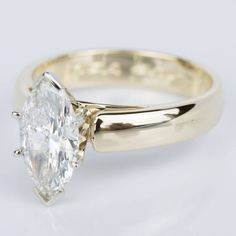 Marquise Diamond Cathedral Engagement Ring in Yellow Gold ct. Deco Engagement Ring, Silver Engagement Rings, Marquise Diamond, Marquise Cut, Diamond Ring Settings, Diamond Wedding Sets, Wedding Rings Vintage, Fashion Rings, Cathedral