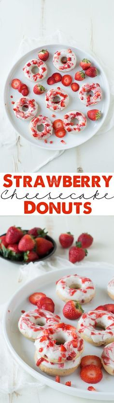 Strawberry Cheesecake Donuts with strawberries in the batter, topped with a cream cheese glaze and strawberry coulis.