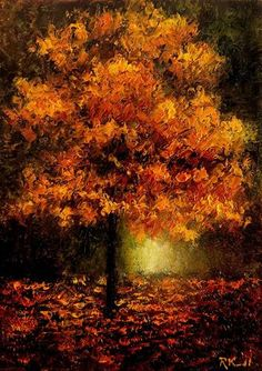 """Auburn Autumn Tree"" - Original Fine Art for Sale - © Bob Kimball"