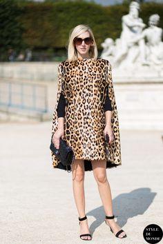 Prints in street style. Jane Keltner de Valle in leopard at Paris Fashion Week Spring 2015. #pfw