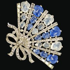 Trifari 'Alfred Philippe' Blue and White Moonstone Fruit Salad Fan Pin Clip ca 1941