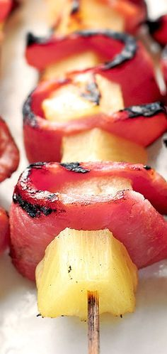 Grilled Pineapple Ham Kabobs
