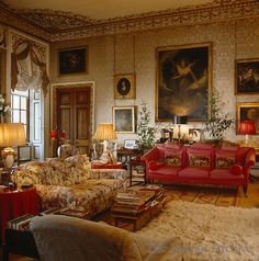 The silk on the walls of the Blue Drawing Room is so faded that it is no longer blue and some of the furniture has been re-upholstered since this photograph was taken