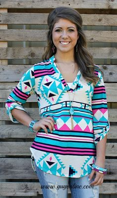 Take A Stand Turquoise, Pink and Navy Aztec Blouse $32.95 Small-Large www.gugonline.com