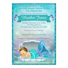 931 best ocean baby shower invitations images on pinterest in 2018 adorable mermaid baby shower invitations 130 filmwisefo