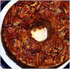 Apple Cake With Caramel-Pecan Glaze | http://holycowvegan.net/2009/11/apple-cake-with-caramel-pecan-glaze.html