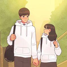 Những món quà bé bé xinh xinh nhân ngày đặc biệt hay chỉ một cái nắm tay cũng đủ để cảm nhận hạnh phúc. Cute Couple Drawings, Cute Couple Art, Anime Love Couple, Cute Couple Pictures, Cute Drawings, Romantic Anime Couples, Cute Couples, Poses Anime, Akira