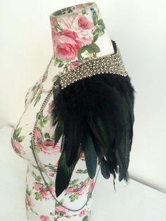 Jakarta Beaded Feather Epaulette with body chain http://www.lovekhaos.com/shop/jakarta-beaded-feather-epaulette-with-body-chain