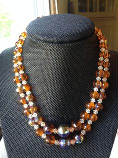 Antique choker necklace with amber and clear aurora borealis plastic beads, shiny choker necklace, bright choker necklace by DuckCedar on Etsy