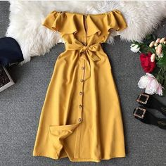 Hot Sexy Dress For Women Brief Button Off Shoulder Ruffle Belted Elegant Summer Dresses Ladies Casual Wear Isabella bowling Elegant Summer Dresses, Girls Fall Dresses, Cheap Prom Dresses, Modest Dresses, Pretty Dresses, Dresses For Work, Bandage Dresses, Sexy Dresses, Formal Dresses