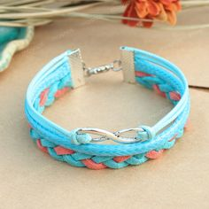 Bracelet turquoise infinity bracelet for friends gift by mosnos