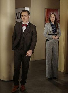 Blair Waldorf knew how to rock some serious tailoring. We loved this gray pantsuit she wore to talk with Chuck on a Gossip Girl episode - click for more of her best outfits