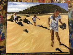 Kids on Kangaroo Island (first oil on canvas), Charmaine  Lim