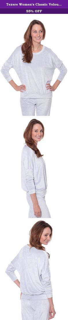 Texere Women's Classic Velour Lounge Sweater (Bloom, Silver Star, Large) Great Gifts for Wife Mother Sister WB0302-STR-L. Lounge in style in this ultra-comfortable, slouchy, velour sweater. Our super soft cotton, bamboo viscose, and polyester blend velour is enhanced with an eco-friendly touch that creates this classic silhouette. Wear it in, wear it out, wear it wherever and whenever you like!.