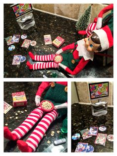 """Elf on the Shelf Ideas. Elf on the Shelf Movie Night. Elves are watching """"How the Grinch Stole Christmas"""" from his Christmas DVD collection. He sure is making a mess of that popcorn though! To view more pins like this one, search for Pinterest user amywelsh18."""