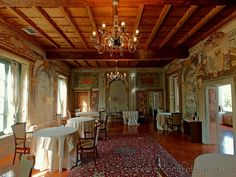 Milan (Italy): One of the rooms of Villa Torretta, with walls completely covered with frescos.
