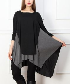 This Black & Charcoal Layered Sidetail Tunic is perfect! #zulilyfinds  I think I may try this one.