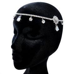 "Antique Silver Clear Rhinestone ""Kim Kardashian"" Inspired Floral Headband Headpiece 1863"